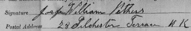 Signature of George William Pithers 1911 census