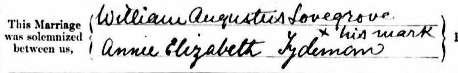 William Augustus Lovegrove and Annie Elizabeth Tydeman signature