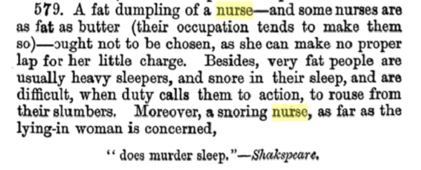 Advise on monthly nurses by Chavasse