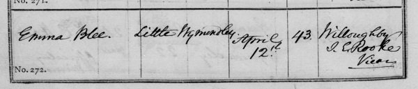 Emma Blee burial 1871