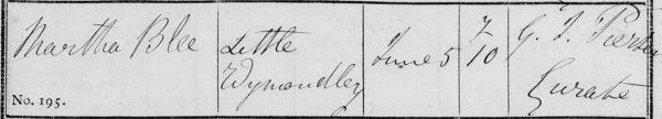 Martha Blee burial 1860