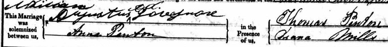William Augustus Decrespigny Lovegrove, Anne Penton and Thomas Penton signatures
