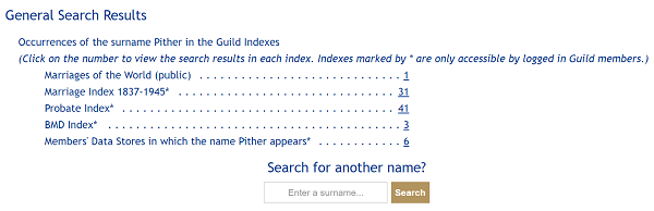 Search results for Pither on Guild of One Name Studies